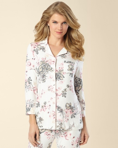Notch Collar Pajama Top Etched Floral