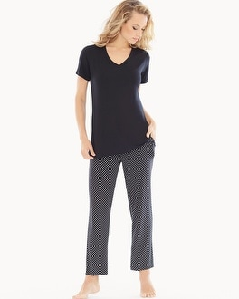 Cool Nights Ankle Pants Pajama Set Mod Dot Black