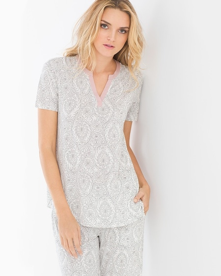 Pop Over Pajama Top Delicate Scroll Ivory