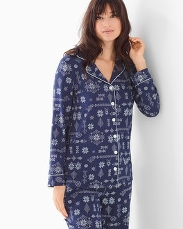 Embraceable Long Sleeve Notch Collar Pajama Top Alpine Stitch Navy