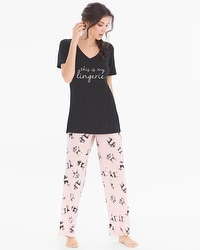 Cool Nights Short Sleeve Pajama Set My Lingerie Black