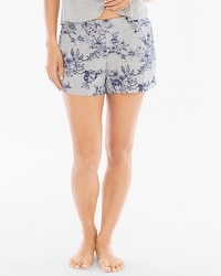 Cool Nights Full Tap Pajama Shorts Etched Floral Heather Frost