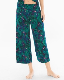 Cool Nights Full Pajama Crop Pants Amazon Palm Deep Lake