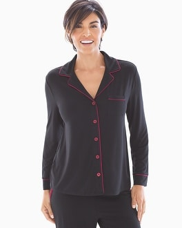 Long Sleeve Notch Collar Pajama Top Black With Cranberry Trim by Cool Nights