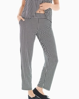 Cool Nights Ankle Pajama Pants Houndstooth Ivory