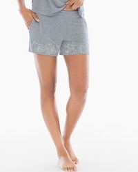 Cool Nights Pajama Shorts Content Border Heather Silver