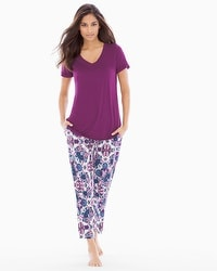 Cool Nights Ankle Pants Pajama Set Agora Henna Plum