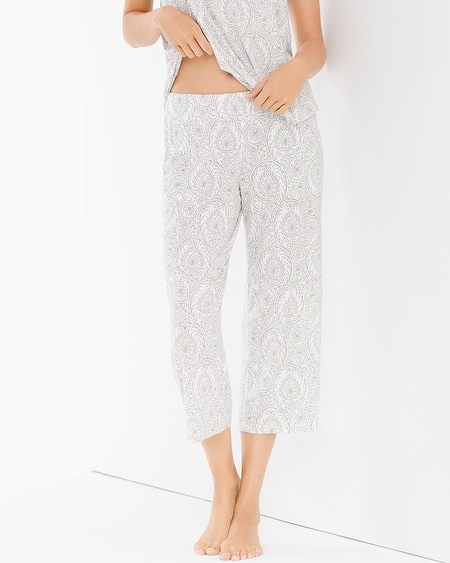Crop Pajama Pants Delicate Sroll Ivory