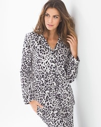 Embraceable Long Sleeve Notch Collar Pajama Top Jaguar Ivory