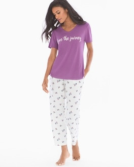 Cool Nights Short Sleeve/Ankle Pants Pajama Set Joy Ride Plum Wine