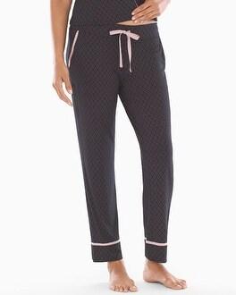 Satin Trim Ankle Pajama Pants Kimono Geo Black by Cool Nights