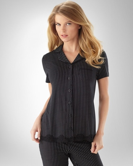 Pinstripe Black Piped Top