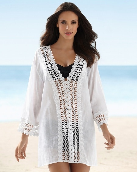 La Blanca Crochet Edge Tunic Swim Cover Up