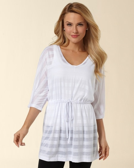 Deep V-Neck White Burnout Tunic