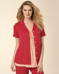 Embraceable Mod Dot Ruby Short Sleeve PJ Top