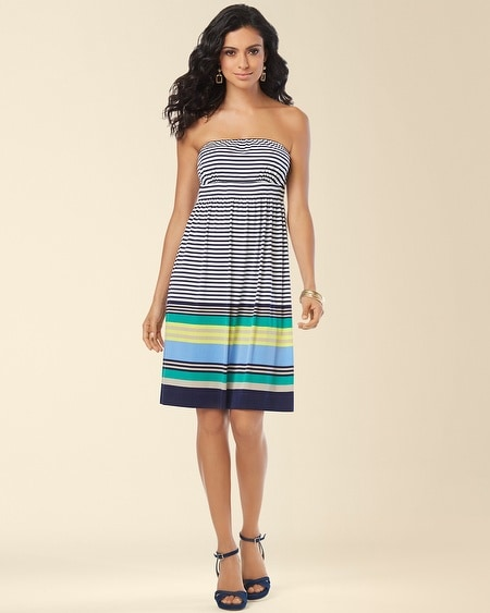 Smocked Bandeau Dress Seaward Stripe