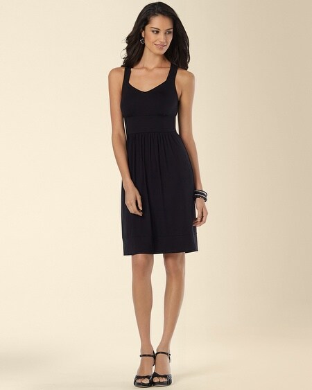 Sleeveless Cross-Back Short Dress Black