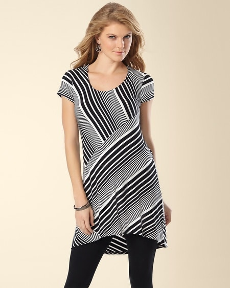 Fundamental Short Sleeve Tunic Gradient Stripe