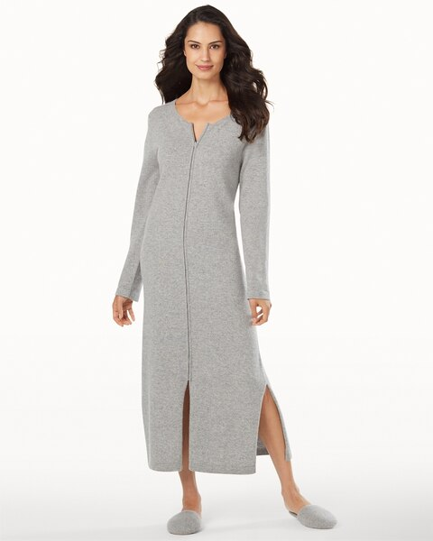 3357181542d Long Zip Cashmere Robe Heather Grey - Soma