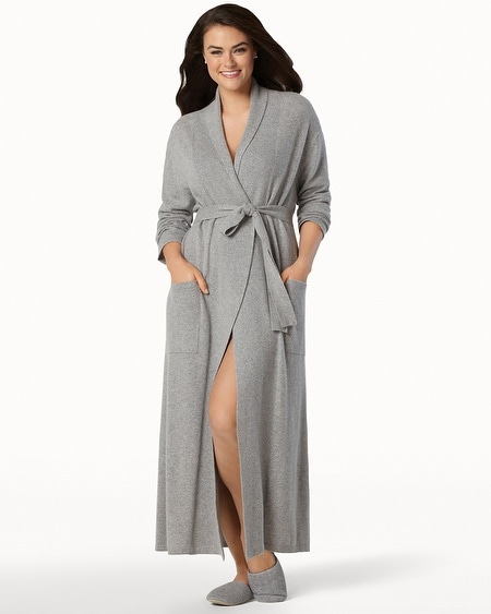 Long Cashmere Robe Heather Grey
