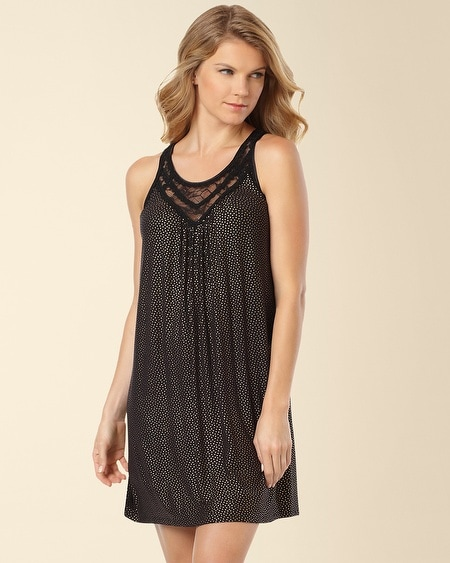 Midnight Rose Sleep Chemise Stars Gold on Black