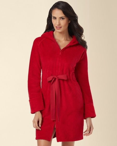 Hooded Short Zip Robe Ruby