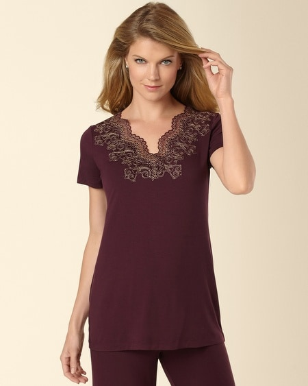 Scroll Lace Pajama Top Merlot