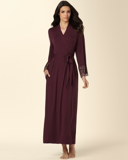 Scroll Lace Long Robe Merlot