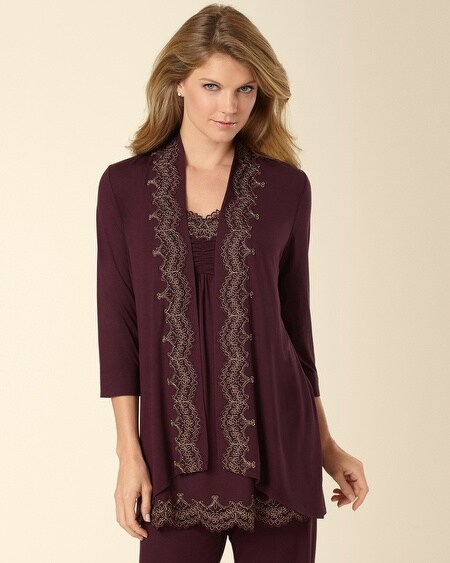 Scroll Lace Pajama Wrap Merlot