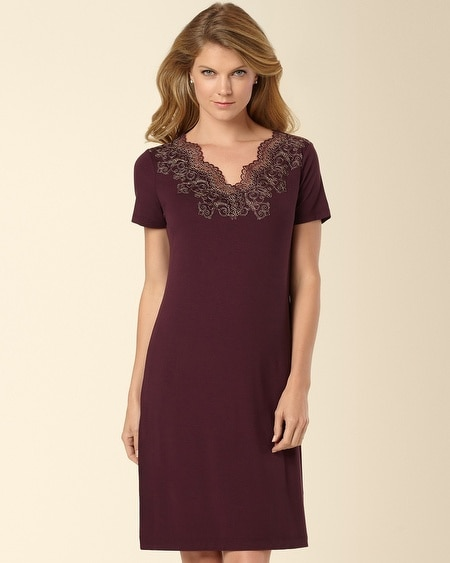 Scroll Lace Sleepshirt Merlot