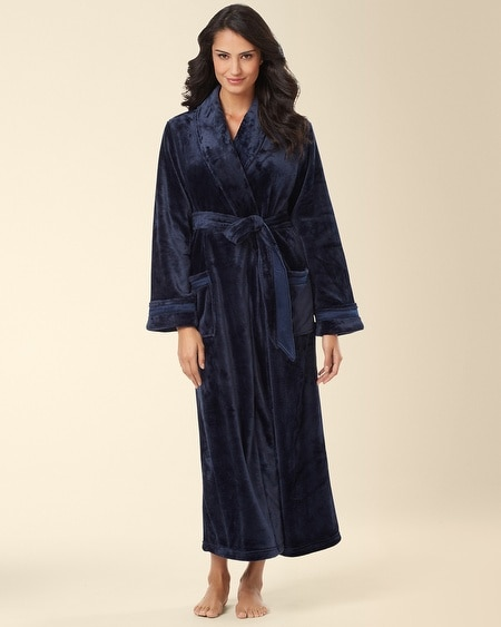 Plush Long Robe Navybound