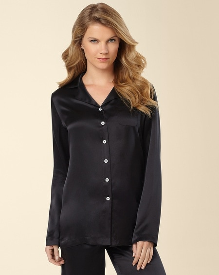 Silk Pajama Top Black