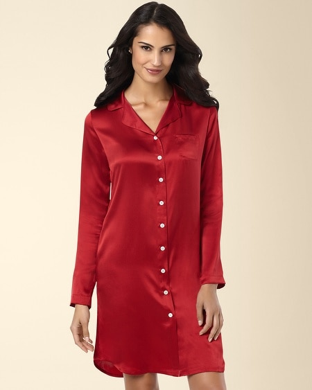 Silk Notch Collar Sleepshirt Ruby