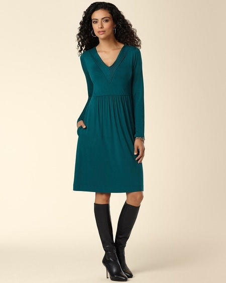 Pintucked V-Neck Dress Deep Teal