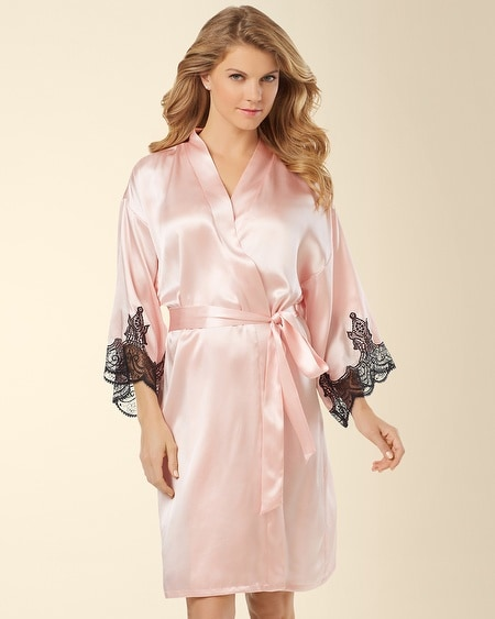 Silk Short Robe Sugar Pink