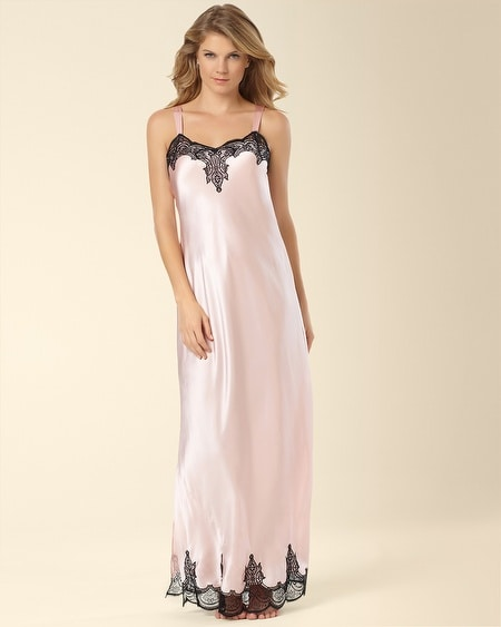 Long Silk Nightgown Sugar Pink