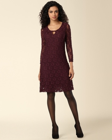 Keyhole Detail Lace Dress Merlot