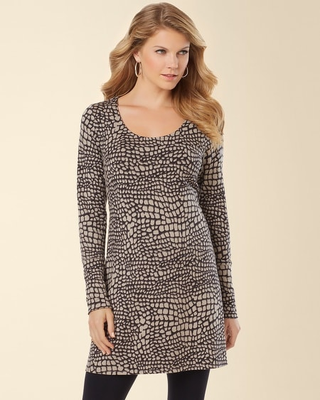 Divine Terry Scoop Neck Tunic Croc Print