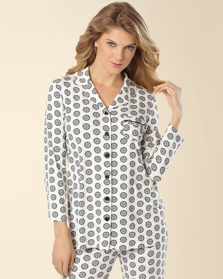 Notch Collar Pajama Top Empire Medallion