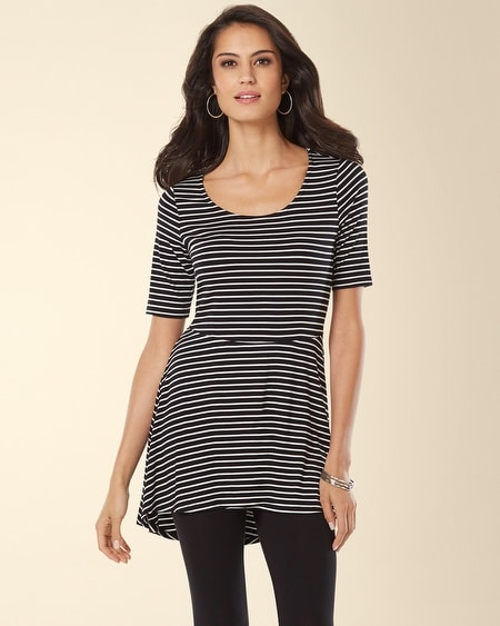 Short Sleeve Peplum Tunic Generation Stripe Black