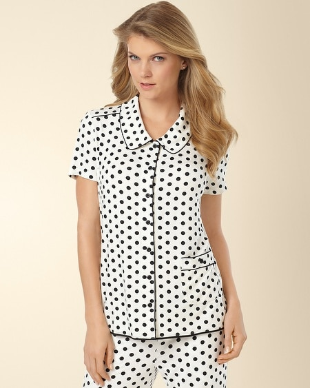 Short Sleeve Pajama Top Big Dot Ivory/Black