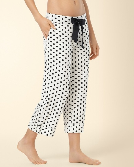 Roll Cuff Crop PJ Pant Big Dot Ivory/Black