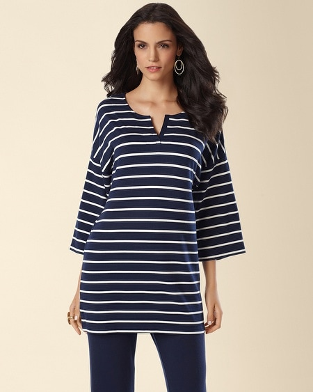 Divine Terry Elbow Sleeve Tunic Fundamental Stripe Blue Tunic