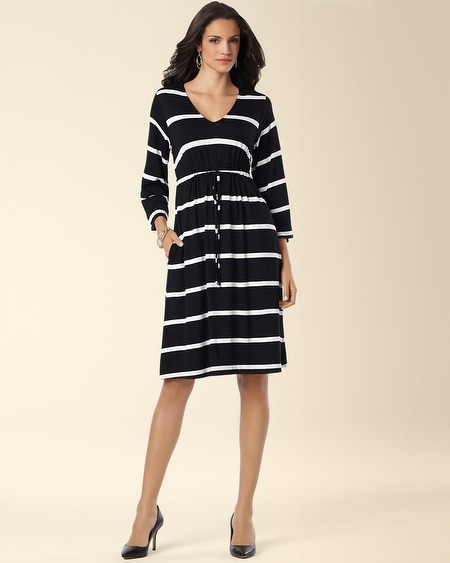 Drawstring Dress Intent Stripe