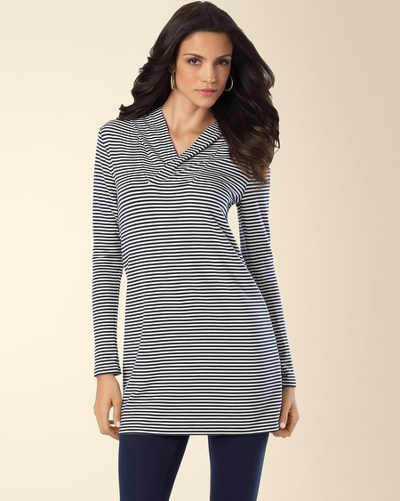 Divine Terry Hooded Tunic Shelbourne Stripe Blue