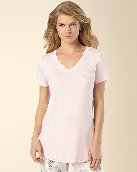 Short Sleeve V-Neck Pajama Tee Sugar Pink