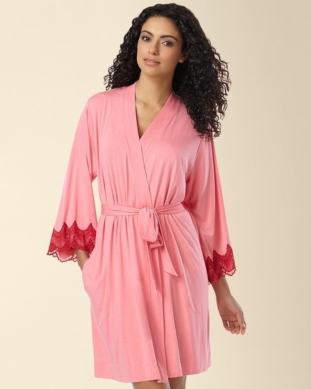 Geo Scallop Lace Short Robe Peony/Ruby