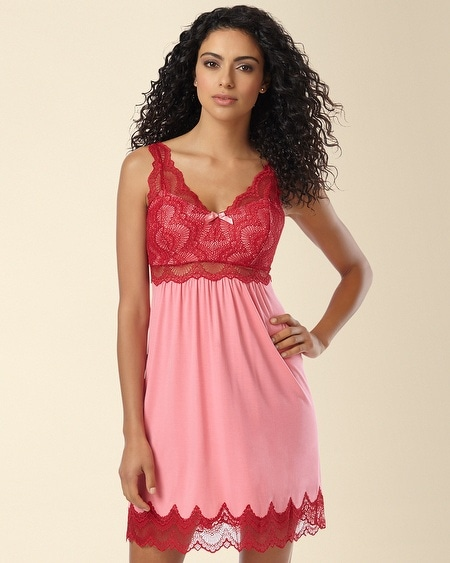 Geo Scallop Lace Sleep Chemise Peony/Ruby