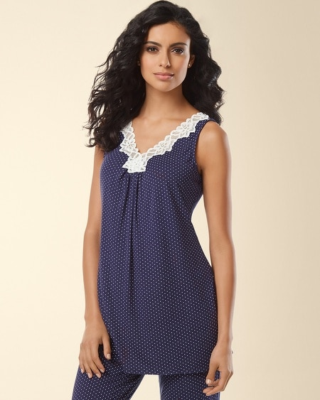 Lace Sleep Tank Little Dot Navy