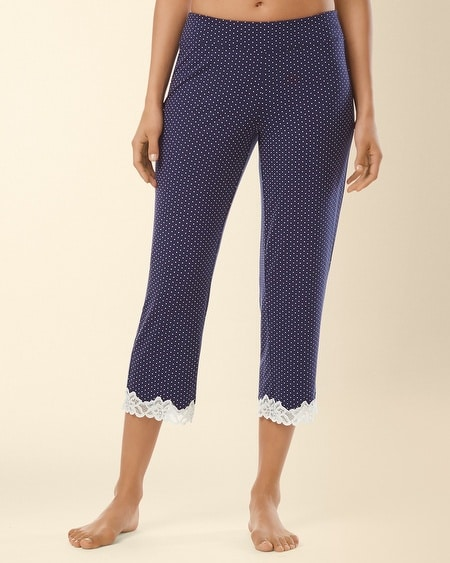 Crop Lace Pajama Pant Little Dot Navy